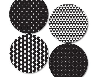 Monochrome Geometric Coasters (set of 4)