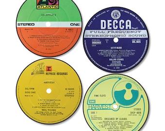 Vinyl Record Label Coasters (Set of 4)
