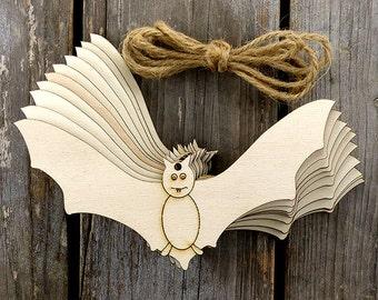 10 x Wooden Vampire Bat Comic Craft Shapes