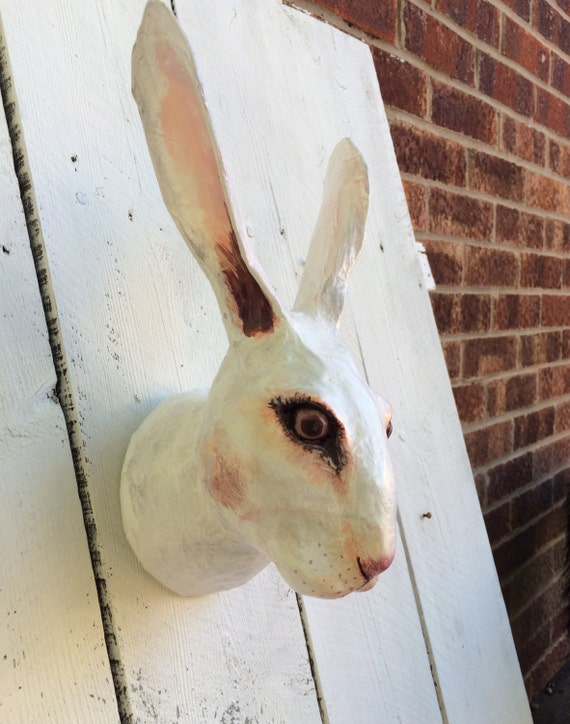 white rabbit faux taxidermy white rabbit animal head. Black Bedroom Furniture Sets. Home Design Ideas