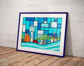 Print of the city of Montreal, artprint, 8,5X11