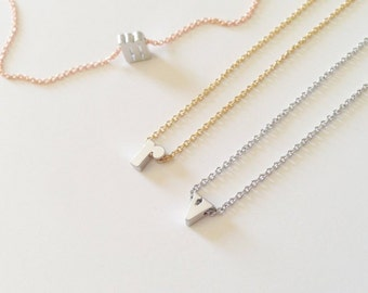 Dainty Lowercase Silver Initial Necklace w Gold, Silver, Rose Gold Chain, Dainty Initial Charm Necklace, Holiday Gift, Bridesmaid Gift