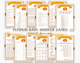 Little Pumpkin Baby Shower Games , Pumpkin Baby Shower Pack , Fall Baby Shower , Halloween Baby Shower , Printable , Instant Download - PK2