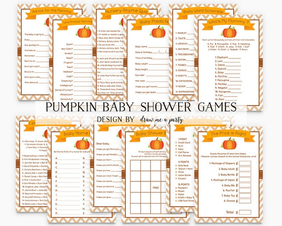 shower games pumpkin baby shower pack fall baby shower halloween