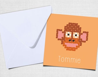 Birth announcement monkey with envelope