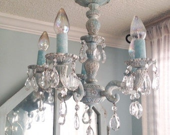 Vintage French Country Brass Shabby Chic Chandelier with Tear Drop Crystal Prisms~Farmhouse~Cottage~Nursery~Aqua~Beach House