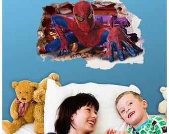 SPIDERMAN in wall decal - 3D Bedroom Boys Girls Kids Vinyl Wall Art Sticker Gift New XLarge