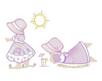Sunbonnet Embroidery Design - Set of 2 Instant Download Sunbonnet Girl, Ricamo Sunbonnet Machine Embroidery Designs No: JG00013-7-8