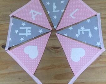 Baby/Girls Personalised Star Bunting Bedroom/Playroom Grey Star & Pink dotty