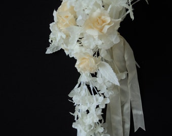 Cascading wedding bouquet of white and cream silk flowers (01798)