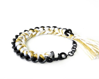 White and Gold Braided Bracelet | Black Curb Chain Bracelet | Woven Bracelet