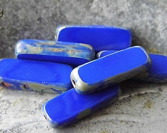 Royal Blue Rectangle Beads, Rectangle Beads, Czech Beads