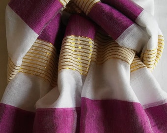 Women's 100% Handwoven Ethiopian Cotton Scarf with Bright Plum/White Stripes and Gold Accents