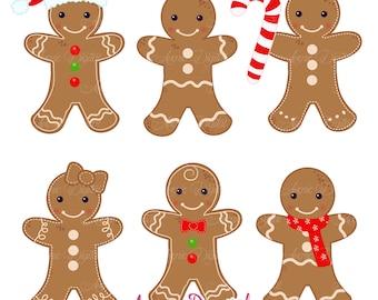 Gingerbread man Clipart Scrapbook printables, holiday clip art set for Commercial Use. Gingerbread cookies vectors graphics