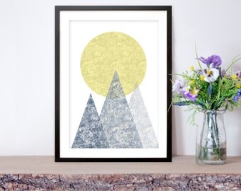 Printable Art, Scandinavian Mountain Art on White, Nordic Art, Modern Art, DIGITAL DOWNLOAD, Abstract Art, Mountain Art
