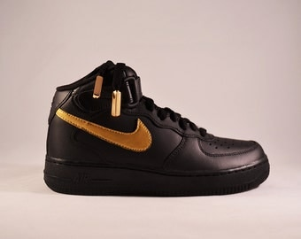 Custom Nike Air force 1 Gold Swoosh