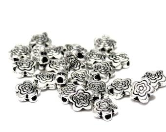 50pcs--Flowres Metal Bead, Antique Silver, 6mm (B49-6)