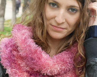 Pink and Purple Faux Fur Cowl, Snood, Neckwarmer, Seamless and Reversible