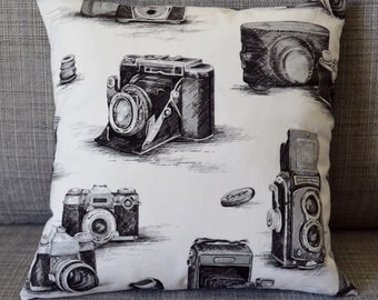 Camera Print Throw Pillow