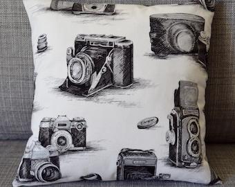 Camera Print Throw Pillow