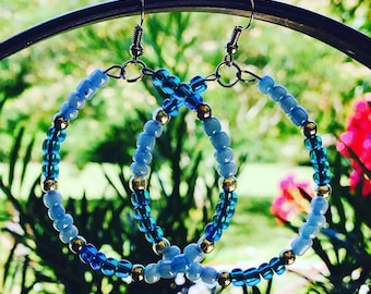 Blue hoop earrings/Bead earrings