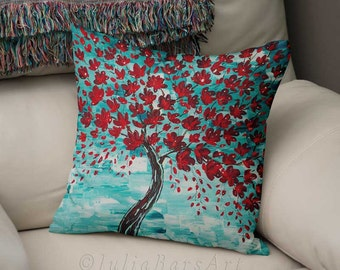 cherry tree pillow, art pillow, throw pillows, red pillow, turquoise pillow, teal pillow decorative pillows, pillow covers pillows for couch