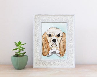 Cocker Spaniel CUSTOM Pet Portrait Watercolor