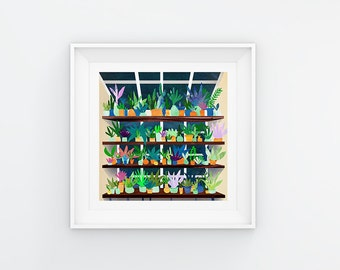 Little Plants, square Giclee print