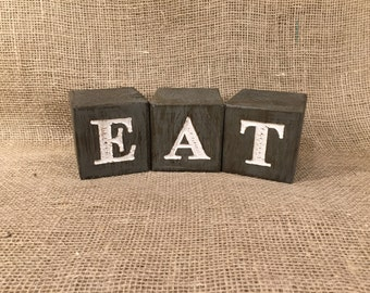 Rustic Wood Blocks Engraved with EAT - Home Decor
