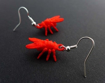 Drosophila Fruit Fly Earrings-Science Jewelry in laser sintered nylon plastic