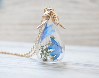 Terrarium necklace, gift for bride, terrarium jewelry, flower necklace, moss necklace, botanical necklace, nature necklace, cornflower