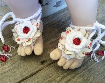 Shabby Chic baby shower, ladybug baby, barefoot sandals, red white flowers, crochet, shoes, newborn, infant, toddler beachwear, photo prop