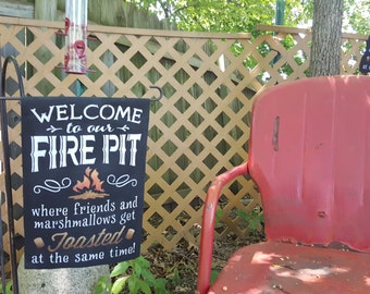 Welcome to Our Campfire, Backyard, Firepit, Bonfire Hand Painted Garden Flags