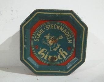 Vintage German Hirsch Stahl Stecknadeln Octagon Tin FREE SHIPPING
