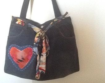 Denim Bag: Upcycled denim Handbag