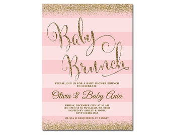Baby Shower Brunch Invitation, Blush Pink or Blue & Gold Glitter Baby Shower Invitation, Printable File Only