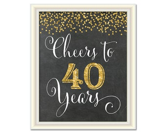 Cheers to 40 Years, 40th Birthday Chalkboard Sign, 40th Anniversary Sign, INSTANT DOWNLOAD