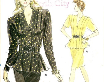 80s Vintage Vogue 7379 tucks Peplum Top & Tapered Skirt Sewing Pattern Sz 12-16