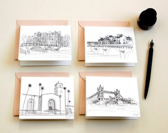 set of cards, cityscapes cards, skylines of Paris London Amsterdam Los Angeles, cities notecards, handmade cards