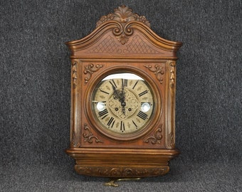 """Vintage Ornate Hand-Carved Wall Mounted Wooden Clock 17"""" X 25"""""""