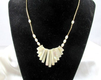Vintage Mother of Pearl Bib Style Necklace