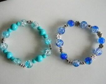 Teal Dark Blue Acrylic Floral Beaded Stretchy Bracelet