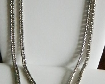 KRAMER Double Silver Chain Link Necklace