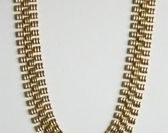 Gold Tone Weaved Look Chain Link Choker Necklace