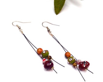 Small earrings made of clays Xtazik creations hand-painted beads