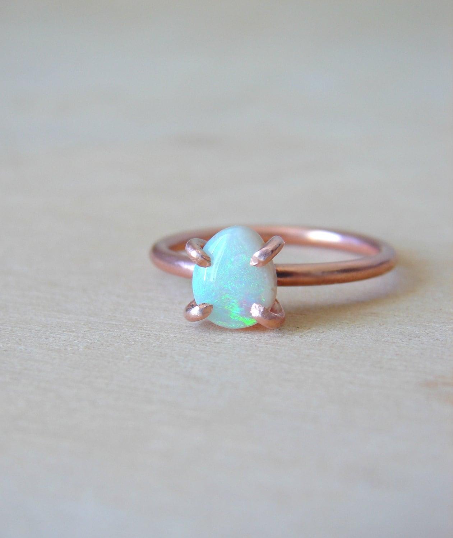 Opal Ring for Women Fire Opal Jewelry October Birthstone