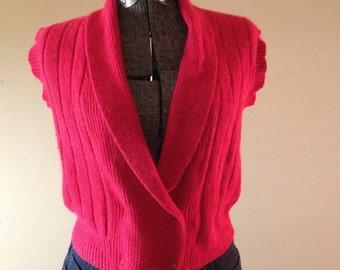 Vintage Cozy Soft Classic 1980's Festive Red V-Neck Buttoned Sweater Vest