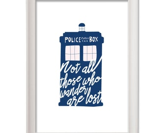 """Doctor who print Tardis-Tolkien Print  quote """"not all those who wander are lost""""  instant download - téléchargement direct tardis blue"""
