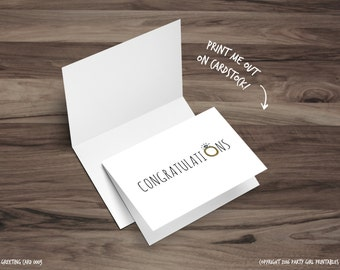 Printable Greeting Card - Blank Card - Congratulations Card - Engagement Celebration - Printable - Wedding Ring Card - Bridal Shower Card