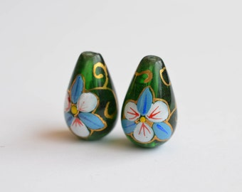 6 pcs Vintage Teardrop Glass Beads, 19mm x 12mm